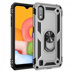 HEAVY DUTY RING STAND CASE FOR SAMSUNG A01 SILVER