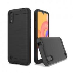 Hybrid Texture Brushed Metal case, For SAMSUNG A01 - Black