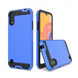 Hybrid Texture Brushed Metal case, For SAMSUNG A01 - Blue