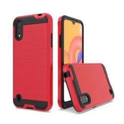 Hybrid Texture Brushed Metal case, For SAMSUNG A01 - Red