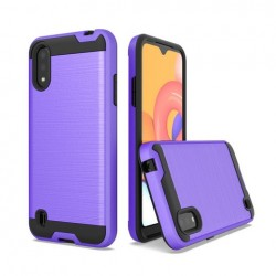 Hybrid Texture Brushed Metal case, For SAMSUNG A01 - Purple