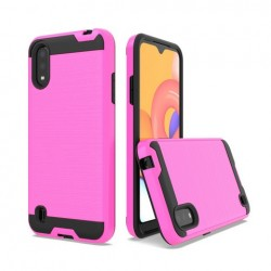 Hybrid Texture Brushed Metal case, For SAMSUNG A01 - Pink