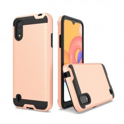 Hybrid Texture Brushed Metal case, For SAMSUNG A01 - Rose Gold