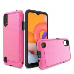 Brushed Metallic Case W/ Edge for SAMSUNG A01 - Pink
