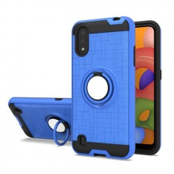 METALIC BRUSH METAL CASE HYBRID WITH RING STAND FOR SAMSUNG A01 BLUE