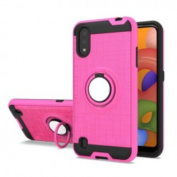 METALIC BRUSH METAL CASE HYBRID WITH RING STAND FOR SAMSUNG A01 PINK