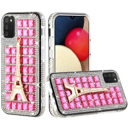 Ornament Bling Diamond Shiny Crystal Case - Eiffel Tower on Hot Pink