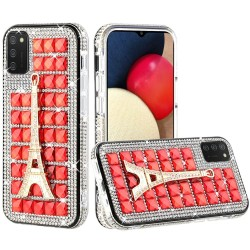 Ornament Bling Diamond Shiny Crystal Case - Eiffel Tower on Red