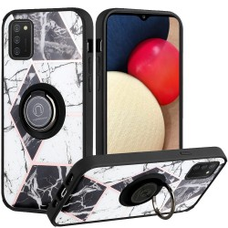 Unique IMD Design Magnetic Ring Stand Cover Case - Classy Marble on Black