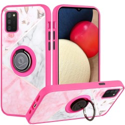 Unique IMD Design Magnetic Ring Stand Cover Case - Elegant Marble on Pink