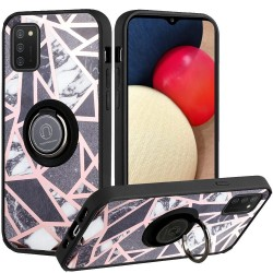 Unique IMD Design Magnetic Ring Stand Cover Case - Fancy Marble on Black