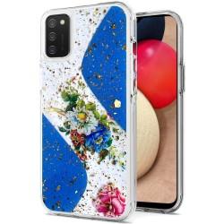 Magnificent Epoxy Glitter Design Hybrid Case Cover - Blue Floral