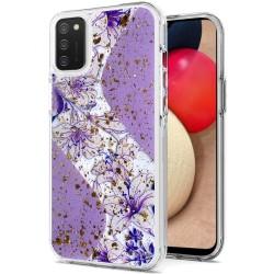 Magnificent Epoxy Glitter Design Hybrid Case Cover - Purple Floral
