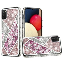 Rhombus Bling Glitter Diamond Case Cover - Rose Pink