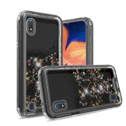 3in1 High Quality Transparent Liquid Glitter Snap On Hybrid - Black For Samsung A10e
