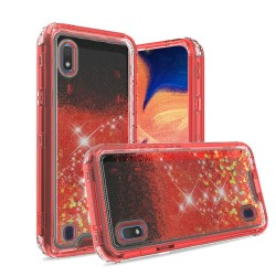 3in1 High Quality Transparent Liquid Glitter Snap On Hybrid - Red For Samsung A10e