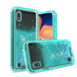 3in1 High Quality Transparent Liquid Glitter Snap On Hybrid - Teal For Samsung A10e