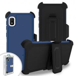 Premium Hybrid Triple Combo Holster, Blue For Samsung A10e