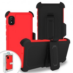 Premium Hybrid Triple Combo Holster, Red For Samsung A10e