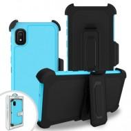 Premium Hybrid Triple Combo Holster, Sky Blue For Samsung A10e