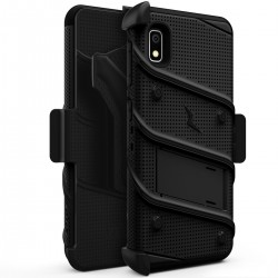 BUILT-IN KICKSTAND BELT HOLSTER AND TEMPERED GLASS SCREEN PROTECTOR For Samsung A10e