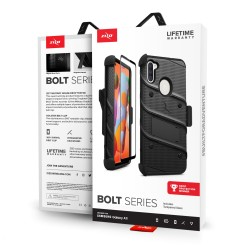 ZIZO BOLT SERIES FOR SAMSUNG GALAXY A11 WITH TEMPERED GLASS - BLACK & BLACK