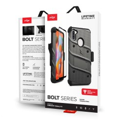 ZIZO BOLT SERIES FOR SAMSUNG GALAXY A11 WITH TEMPERED GLASS - GUN METAL GRAY & BLACK