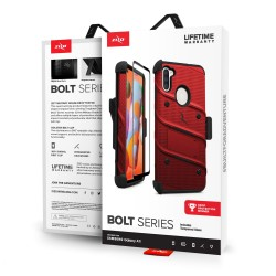 ZIZO BOLT SERIES FOR SAMSUNG GALAXY A11 WITH TEMPERED GLASS - RED & BLACK