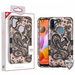 MYBAT TUFF Hybrid Case for Samsung A11 - Phoenix Flower (2D Rose Gold)/Black