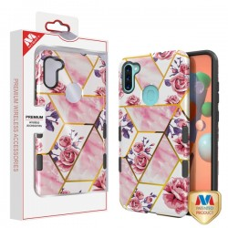 MYBAT TUFF Subs Hybrid Case for Samsung A11 - Roses Marble/Black