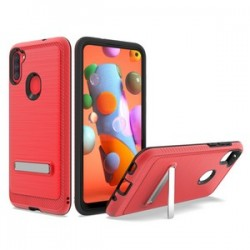 BRUSHED METALLIC CASE W/ EDGE AND KICKSTANDS FOR SAMSUNG A11 - RED