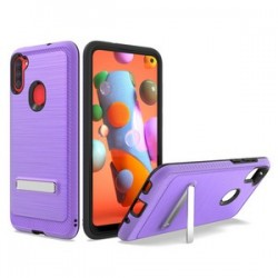 BRUSHED METALLIC CASE W/ EDGE AND KICKSTANDS FOR SAMSUNG A11 - PURPLE