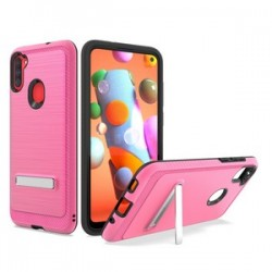 BRUSHED METALLIC CASE W/ EDGE AND KICKSTANDS FOR SAMSUNG A11 - PINK