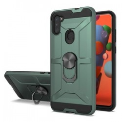 NEW MATTE DESIGN BRUSH CASE WITH RING STANDS FOR SAMSUNG A11 - ARMY GREEN