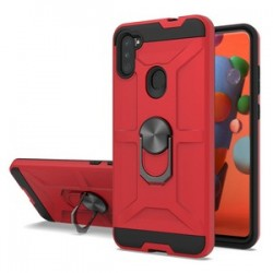 NEW MATTE DESIGN BRUSH CASE WITH RING STANDS FOR SAMSUNG A11 - RED