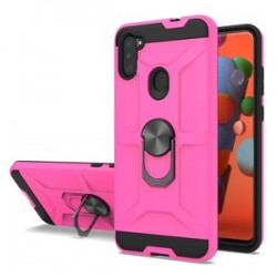 NEW MATTE DESIGN BRUSH CASE WITH RING STANDS FOR SAMSUNG A11 - PINK