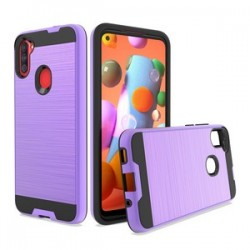 HYBRID TEXTURE BRUSHED METAL CASE FOR SAMSUNG A11 - PURPLE