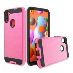 HYBRID TEXTURE BRUSHED METAL CASE FOR SAMSUNG A11 - PINK