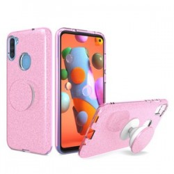 BLING CASE WITH POP UP PINK - FOR SAMSUNG A11