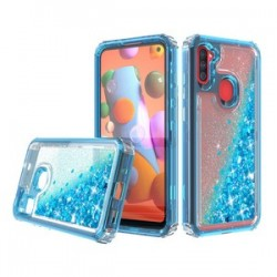 PREMIUM STRONG GLITTER QUICK SAND CASE FOR SAMSUNG A11 - BLUE