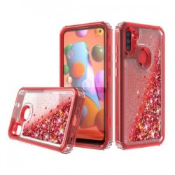 PREMIUM STRONG GLITTER QUICK SAND CASE FOR SAMSUNG A11 - RED