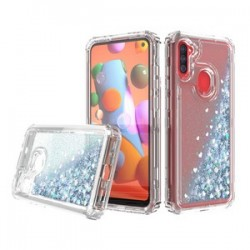 PREMIUM STRONG GLITTER QUICK SAND CASE FOR SAMSUNG A11 - SILVER