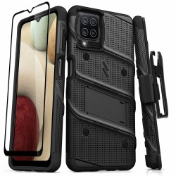 ZIZO BOLT SERIES GALAXY A12 CASE WITH TEMPERED GLASS - BLACK & BLACK