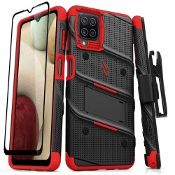ZIZO BOLT SERIES GALAXY A12 CASE WITH TEMPERED GLASS - BLACK & RED
