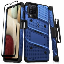 ZIZO BOLT SERIES GALAXY A12 CASE WITH TEMPERED GLASS - BLUE & BLACK