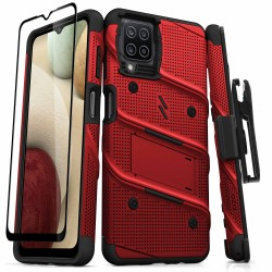 ZIZO BOLT SERIES GALAXY A12 CASE WITH TEMPERED GLASS - RED & BLACK
