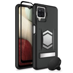 ZIZO ELECTRO SERIES GALAXY A12 CASE WITH TEMPERED GLASS - BLACK/BLACK