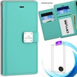 Luxurious Synthetic PU Leather 6 Card Slots INFOLIO for Samsung Galaxy A12 - Mint