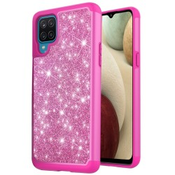 Glitter Bling Shinny Hybrid Case for Samsung Galaxy A12 - Hot Pink/Hot Pink