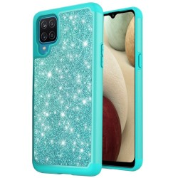Glitter Bling Shinny Hybrid Case for Samsung Galaxy A12 - Teal/Teal